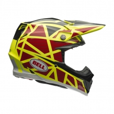 Bell Helm Moto-9 Carbon Flex, Strapped gelb-rot